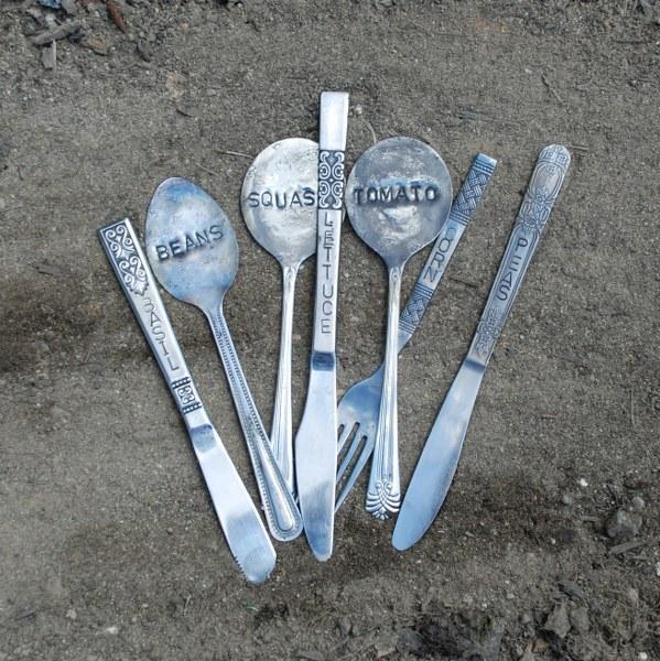 dsc 0176 599x600 DIY Stamped Silverware Garden Markers
