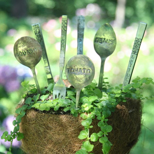 DIY Stamped Silverware Garden Markers - My So Called Crafty Life