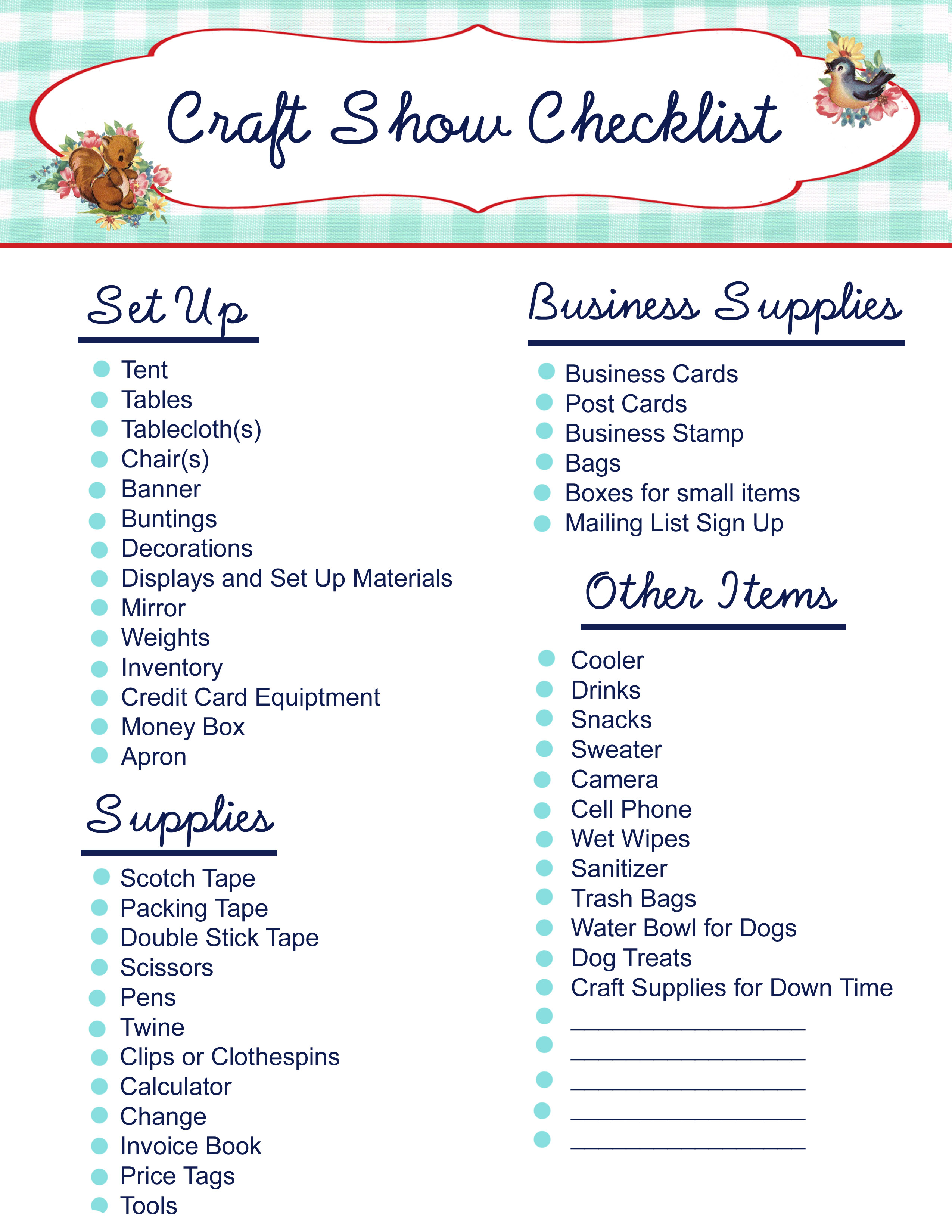 craft show checklist copy Free Printable  Craft Show Checklist