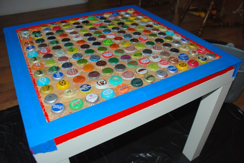 Diy cheap and chic bottlecap table my so called crafty life for How to make a table out of bottle caps