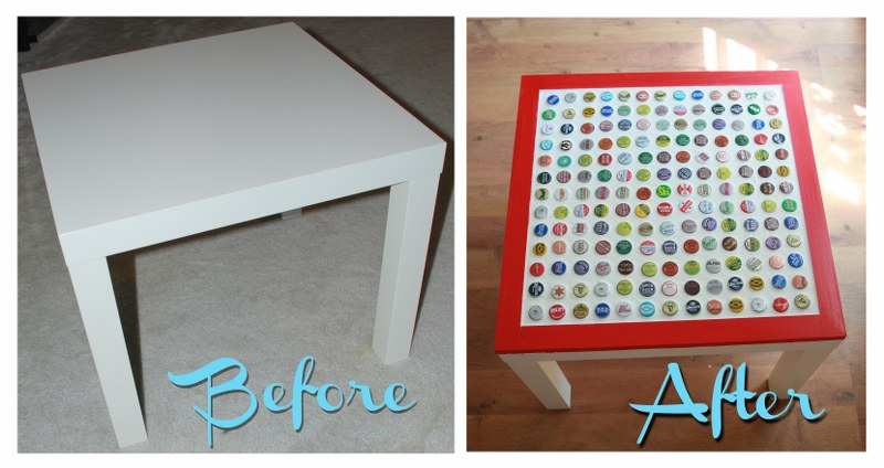 before after 800x424 DIY Cheap and Chic Bottlecap Table