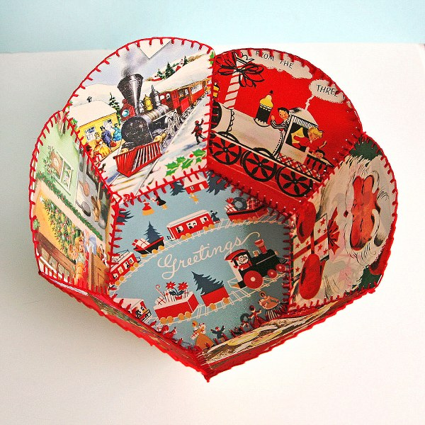 diy vintage christmas card bowl  my so called crafty life