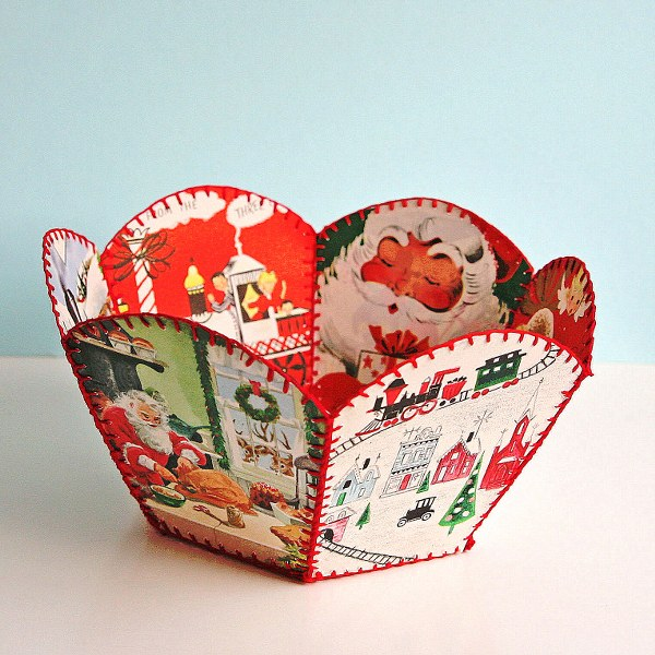 Diy Vintage Christmas Card Bowl My So Called Crafty Life