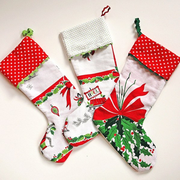 IMG 8377 598x600 Vintage Tablecloth Christmas Stockings