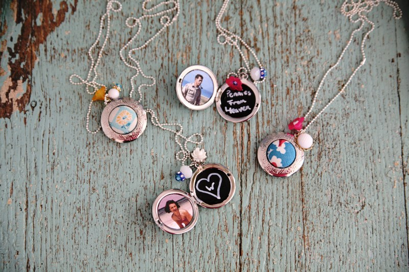 IMG 8594 800x533 12 Days of Handmade Gifts  Vintage Feedsack Chalkboard Lockets