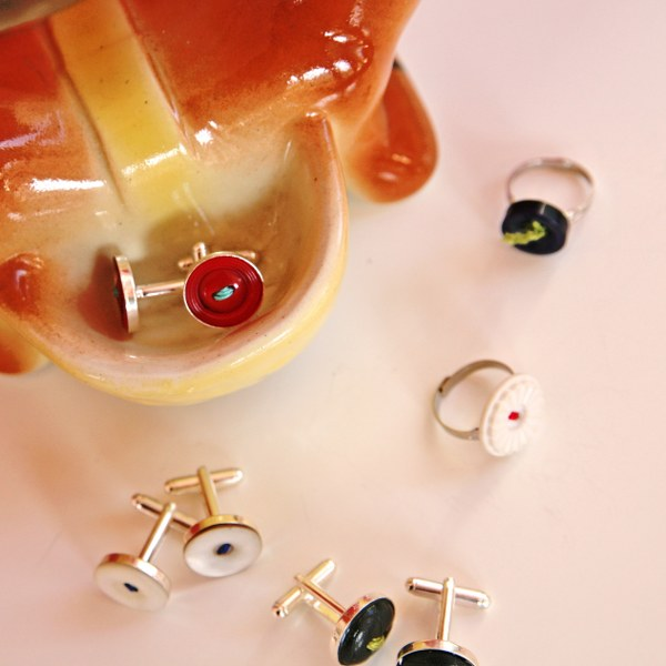 IMG 9090 600x600 12 Days of Handmade Gifts  Vintage Button Rings and Cufflinks