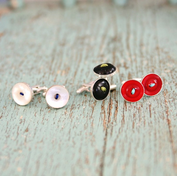 IMG 9100 602x600 12 Days of Handmade Gifts  Vintage Button Rings and Cufflinks