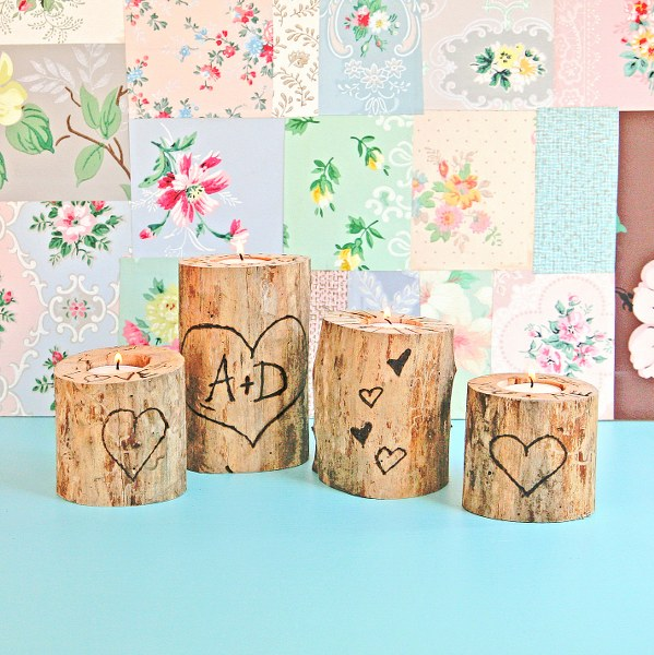 IMG 0855 599x600 14 Days of Love  Wood Burned Heart Tree Candle Holders