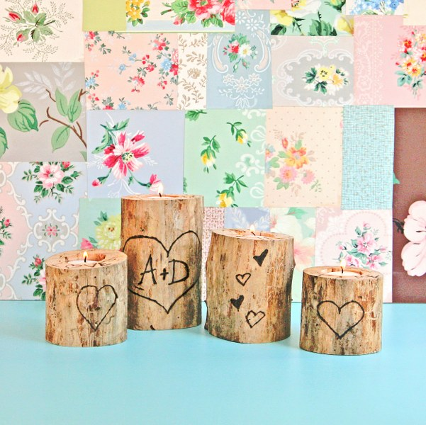 IMG 0856 601x600 14 Days of Love  Wood Burned Heart Tree Candle Holders