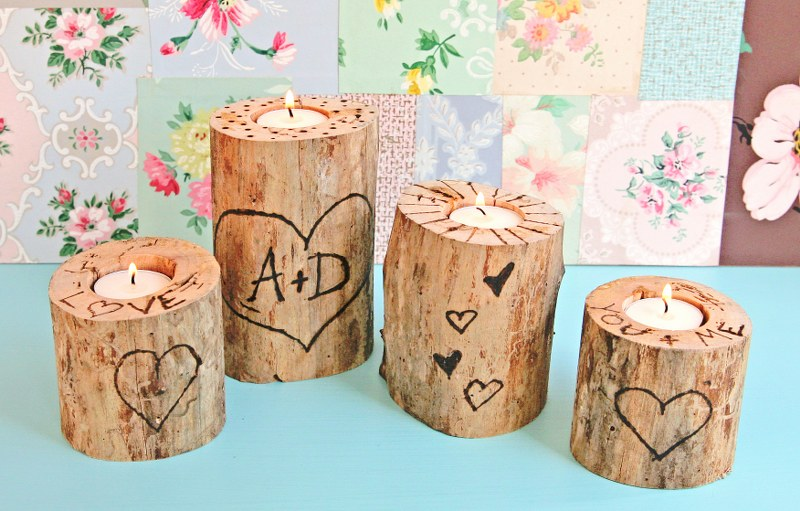 IMG 0858 800x511 14 Days of Love  Wood Burned Heart Tree Candle Holders
