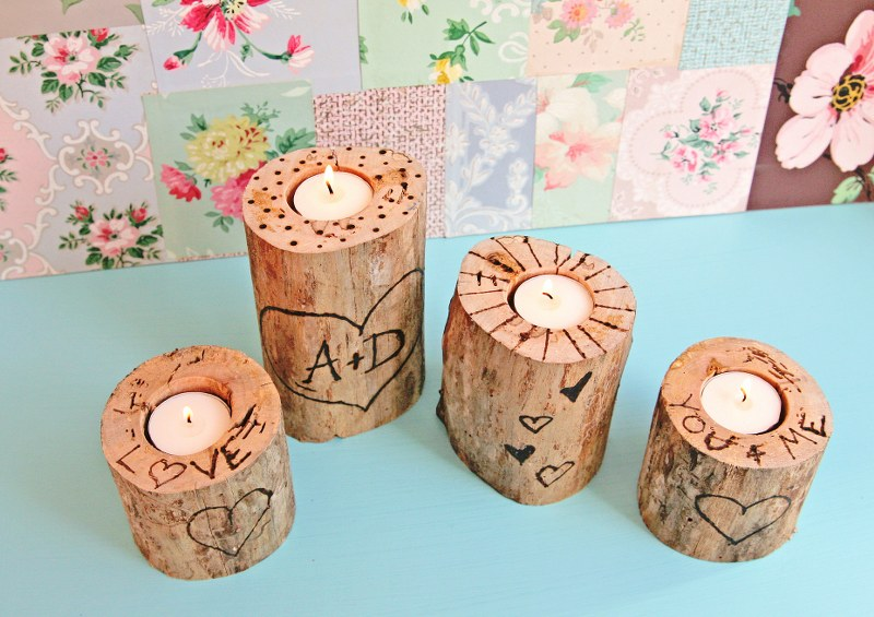 IMG 0860 800x565 14 Days of Love  Wood Burned Heart Tree Candle Holders