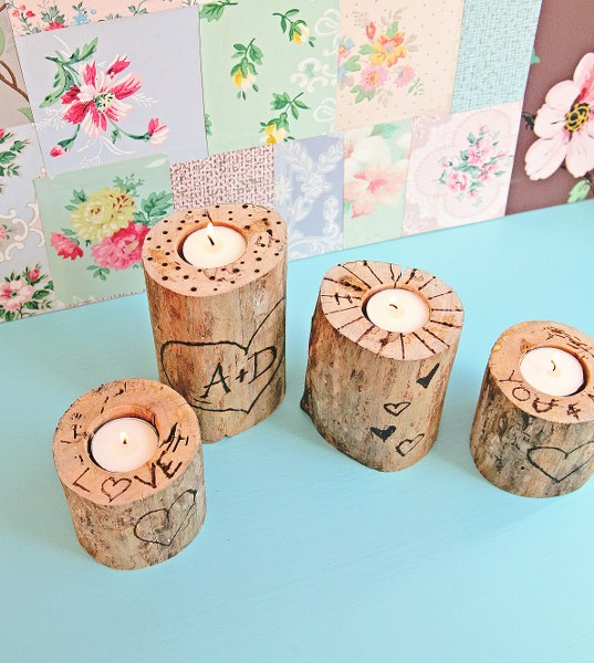 IMG 0861 537x600 14 Days of Love  Wood Burned Heart Tree Candle Holders