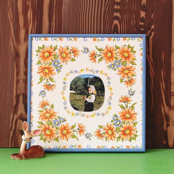IMG 1181 600x600 Framed Vintage Hanky Art Using Mod Podge Photo Transfer Medium