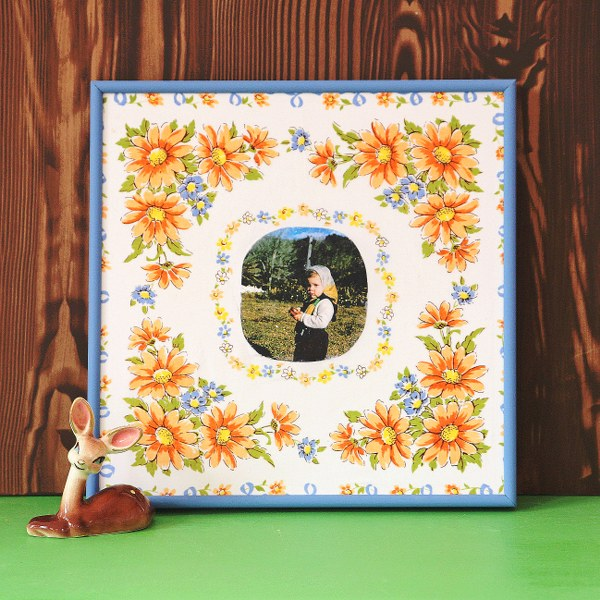 IMG 1182 600x600 Framed Vintage Hanky Art Using Mod Podge Photo Transfer Medium