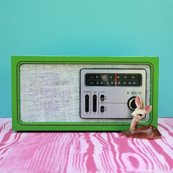 IMG 8639 copy 599x600 Upcycled Wallpaper Covered Radio Revamp