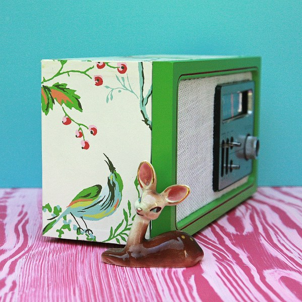 fix 599x600 Upcycled Wallpaper Covered Radio Revamp