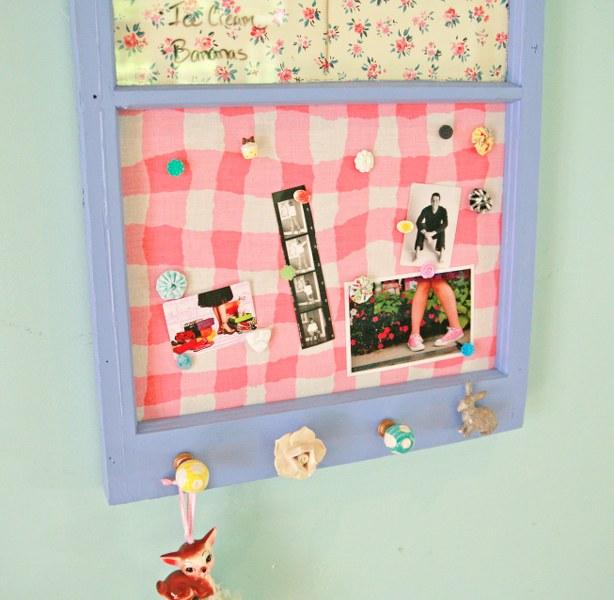 IMG 8853 614x600 DIY Vintage Upcycled Window Memo Board