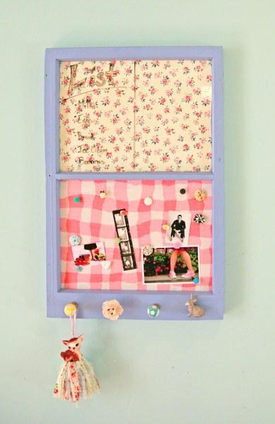IMG 8855 389x600 DIY Vintage Upcycled Window Memo Board