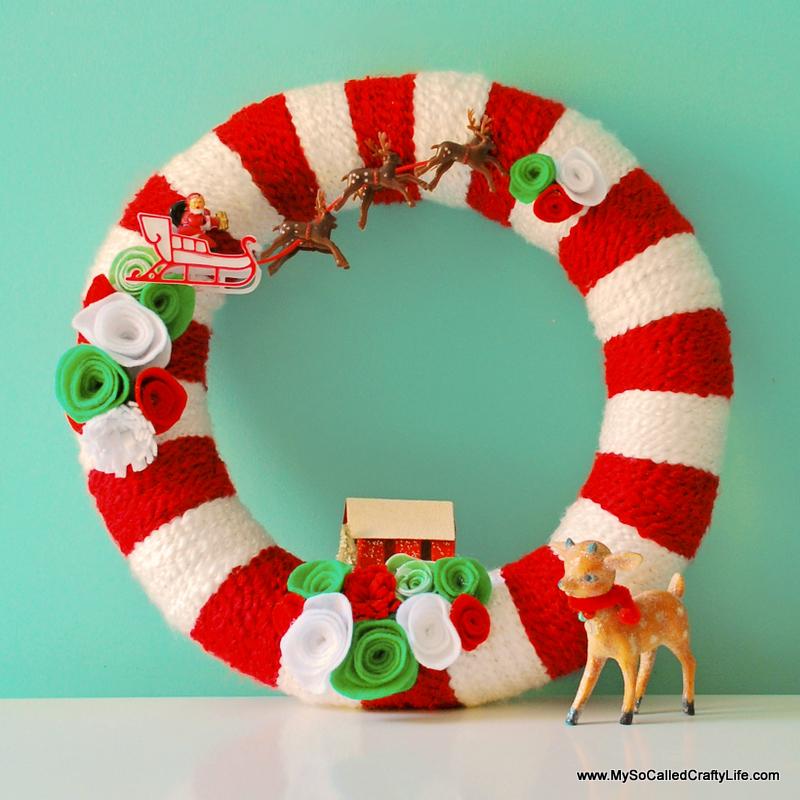 diy retro christmas yarn wreath my so called crafty life