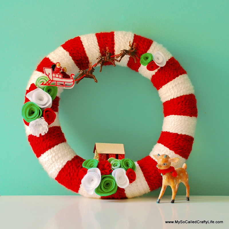 Diy Retro Christmas Yarn Wreath My So Called Crafty Life