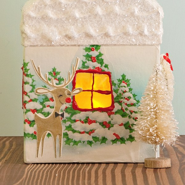 DSC 0311 599x600 DIY Vintage Wrapping Paper Wrapped House Night Light