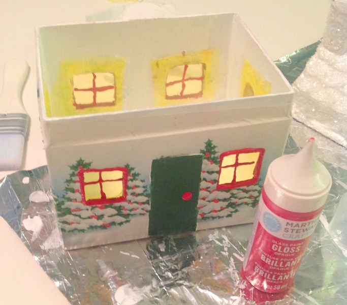 IMG 3055 683x600 DIY Vintage Wrapping Paper Wrapped House Night Light