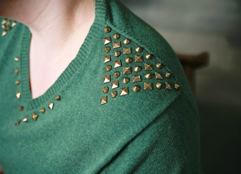 IMG 3730 800x578 DIY Easy Studded Sweater