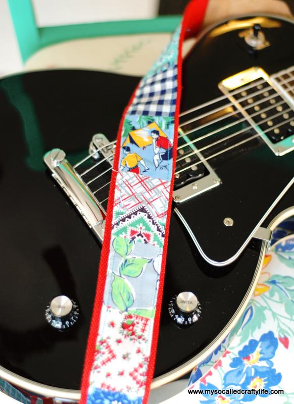 DIY Vintage Flour Sack Guitar Strap - My So Called Crafty Life