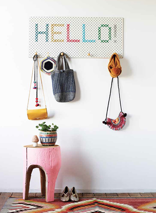 cross stitch coat rack by beci orpin Spring is on the Way! March DIY Round Up!