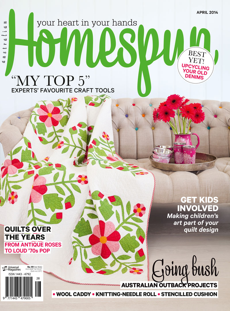 HSP1504 Cover Homespun Magazine Feature