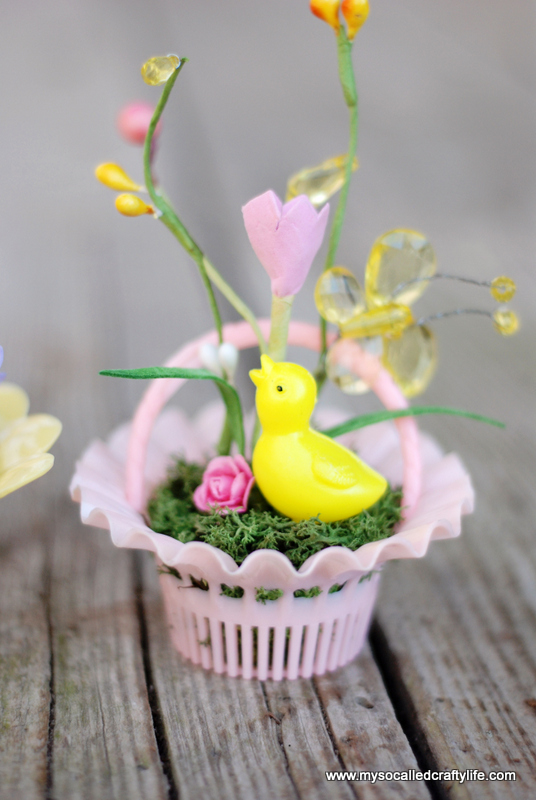diy mini easter gardens DIY Vintage Mini Basket Spring Gardens
