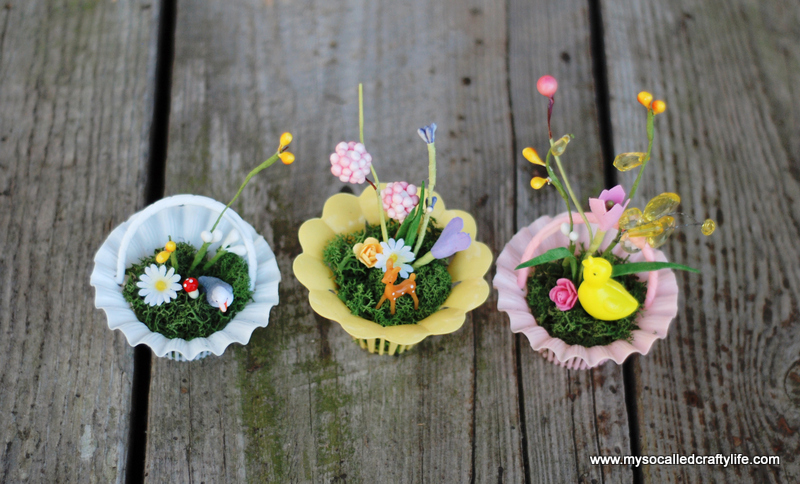 diy mini spring baskets DIY Vintage Mini Basket Spring Gardens