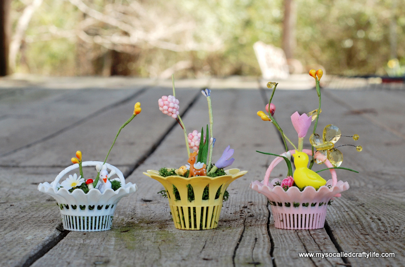 diy vintage mini gardens with plastic deer DIY Vintage Mini Basket Spring Gardens