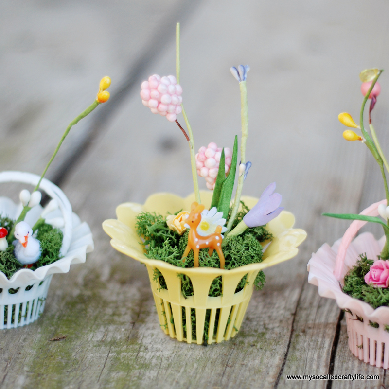 mini easter basket miniatures DIY Vintage Mini Basket Spring Gardens