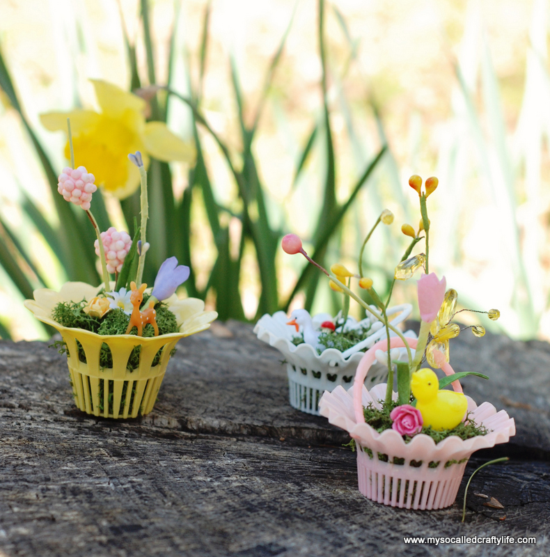 mini vintage easter baskets DIY Vintage Mini Basket Spring Gardens