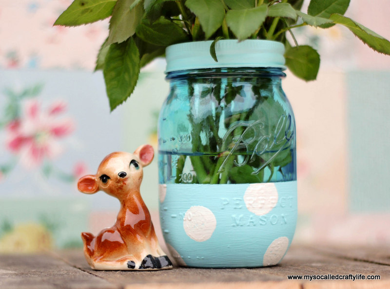 aqua mason jar Easy DIY Painted Mason Jar Vase