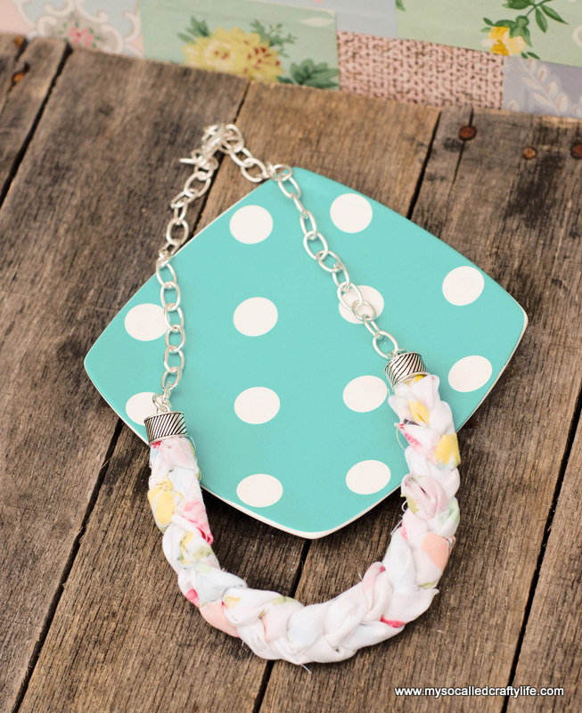 diy statement necklace DIY Chunky Braided Vintage Fabric Necklace