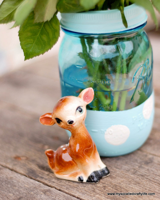 little vintage deer Easy DIY Painted Mason Jar Vase