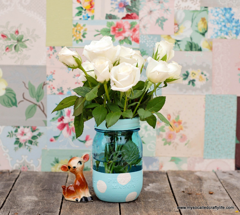 mason jar vase Easy DIY Painted Mason Jar Vase