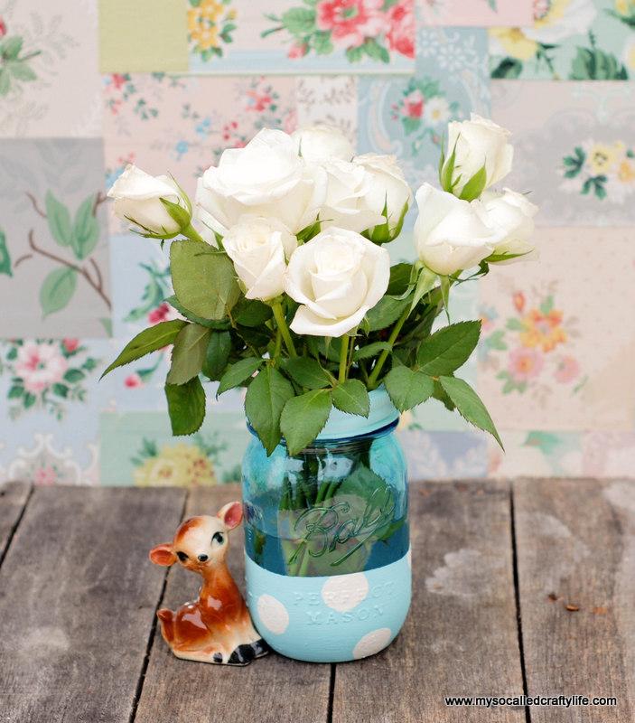painted polka dot mason jar vase