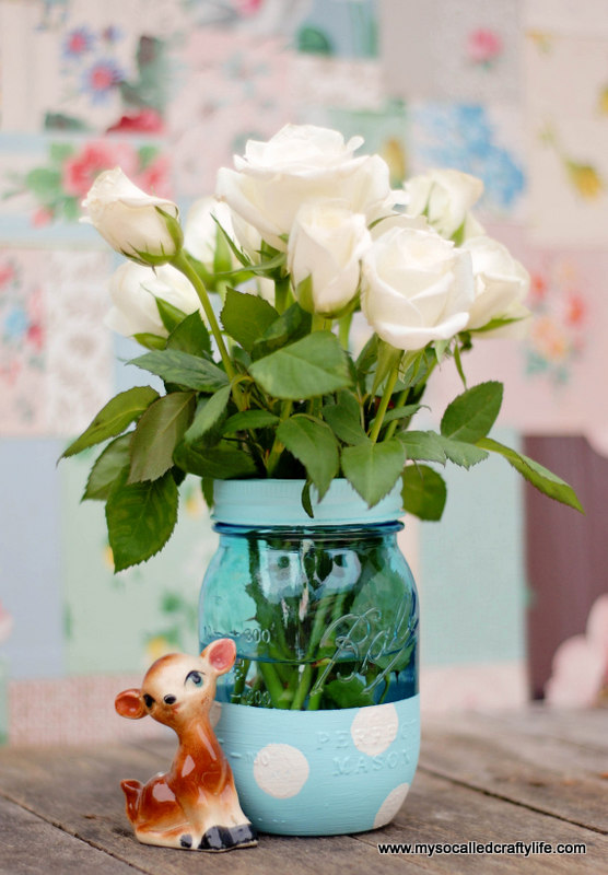 polka dot mason jar Easy DIY Painted Mason Jar Vase