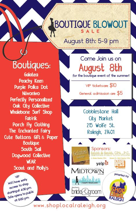 boutique blowout poster 2014 Shop Local Raleighs Boutique Blowout 2014!!!