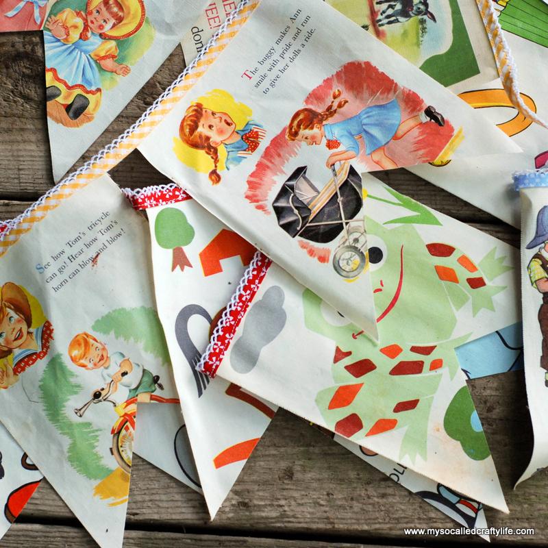 diy bunting DIY Sweet Vintage Upcycled Cloth Baby Book Buntings