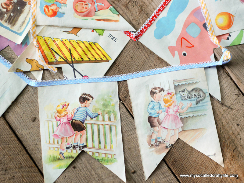 diy cloth book kids bunting DIY Sweet Vintage Upcycled Cloth Baby Book Buntings