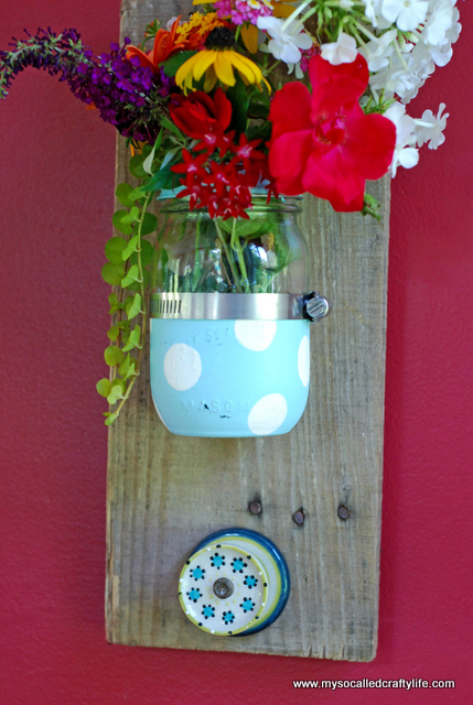diy mason jar organizer DIY Mason Jar Reclaimed Wood Wall Hanging