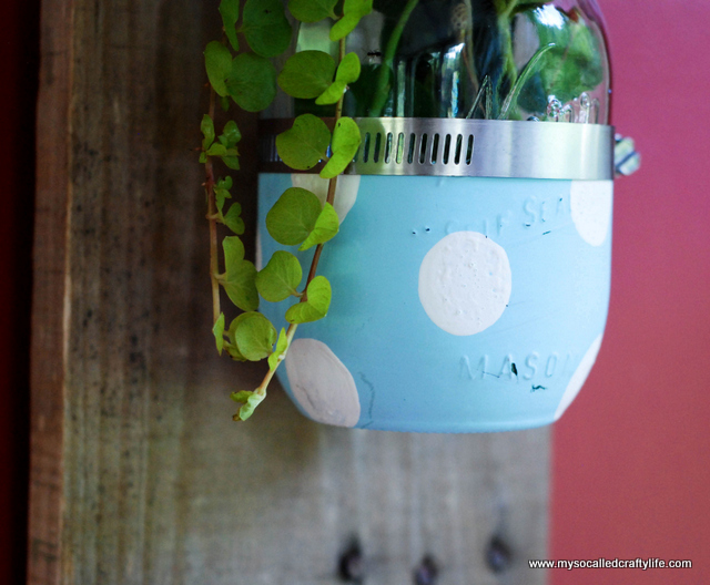 diy mason jar planter DIY Mason Jar Reclaimed Wood Wall Hanging