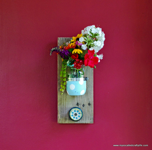 DIY Mason Jar Reclaimed Wood Wall Hanging - My So Called Crafty Life