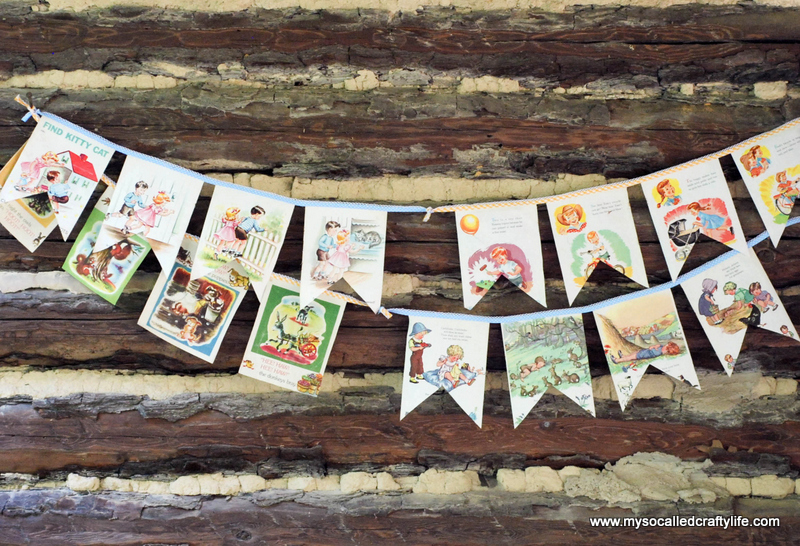 diy retro kids book bunting DIY Sweet Vintage Upcycled Cloth Baby Book Buntings