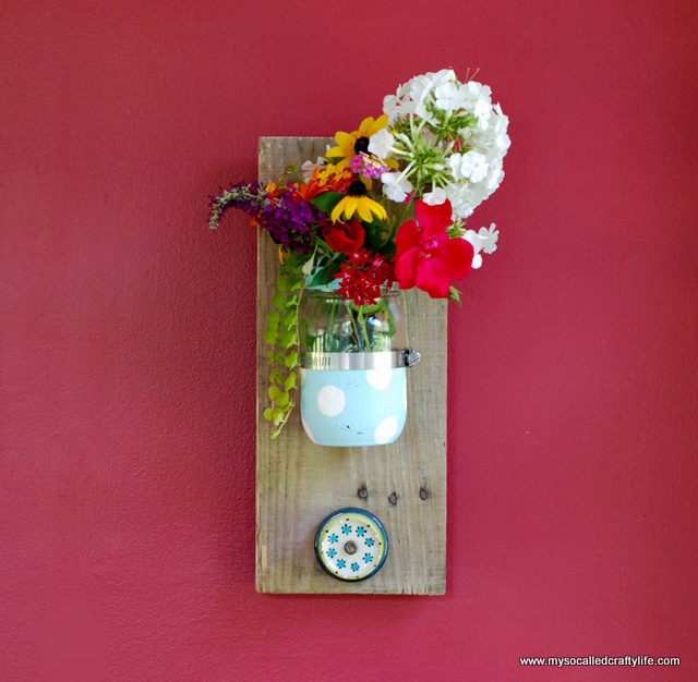 diy upcycled mason jar wall organizer