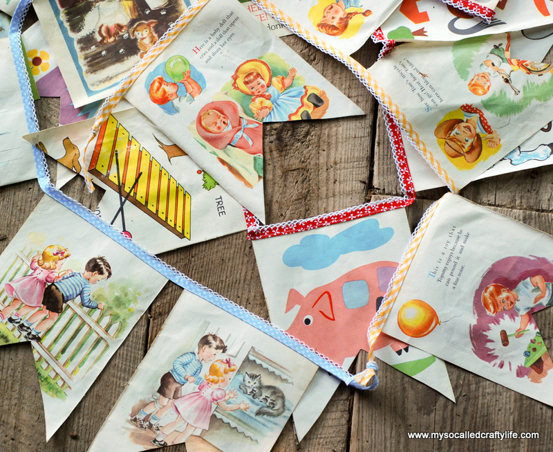 party bunting DIY Sweet Vintage Upcycled Cloth Baby Book Buntings